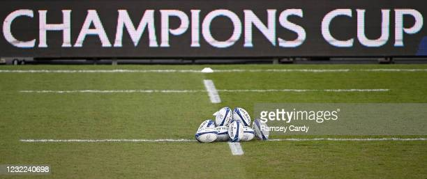 Exeter , United Kingdom - 10 April 2021; A general view of Champions Cup match balls prior to the Heineken Champions Cup Pool Quarter-Final match...