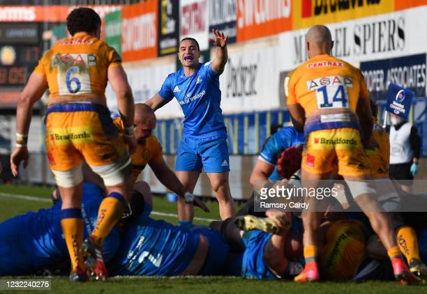 Exeter , United Kingdom - 10 April 2021; James Lowe of Leinster during the Heineken Champions Cup Pool Quarter-Final match between Exeter Chiefs and...