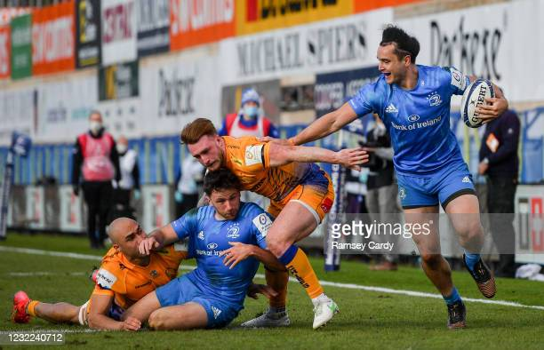 Exeter , United Kingdom - 10 April 2021; James Lowe of Leinster on his way to scoring his side's first try during the Heineken Champions Cup Pool...
