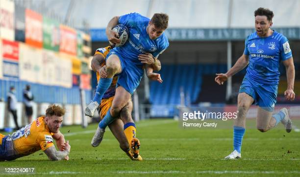 Exeter , United Kingdom - 10 April 2021; Jordan Larmour of Leinster on his way to scoring his side's third try during the Heineken Champions Cup Pool...