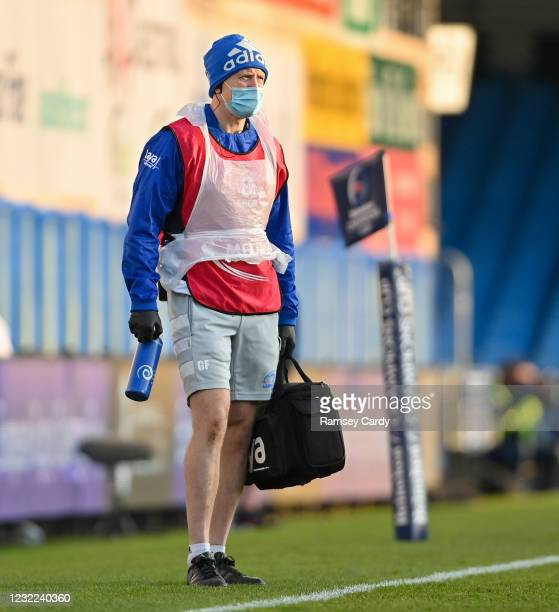 Exeter , United Kingdom - 10 April 2021; Leinster head physiotherapist Garreth Farrell during the Heineken Champions Cup Pool Quarter-Final match...