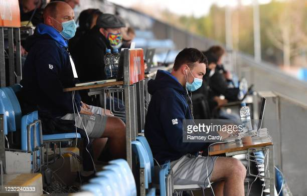 Exeter , United Kingdom - 10 April 2021; Leinster kicking coach and lead performance analyst Emmet Farrell, left, and Leinster senior performance...