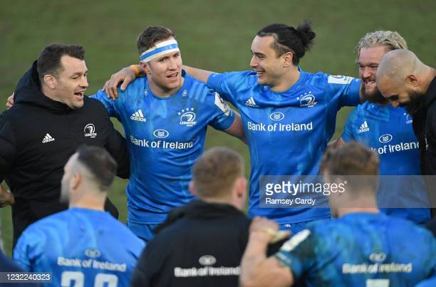 Exeter , United Kingdom - 10 April 2021; Leinster players, from left, Cian Healy, Rory O'Loughlin, James Lowe, Andrew Porter and Scott Fardy...