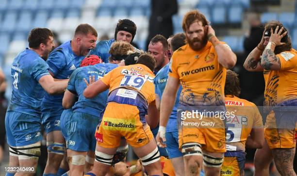 Exeter , United Kingdom - 10 April 2021; Leinster players, including Jack Conan, Ross Molony, Ryan Baird and Ed Byrne, celebrate a scrum penalty...