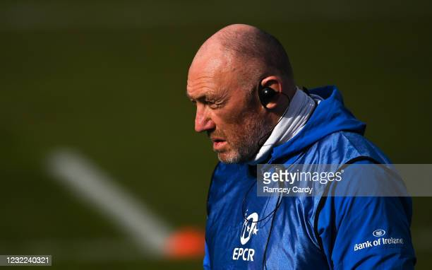 Exeter , United Kingdom - 10 April 2021; Leinster scrum coach Robin McBryde prior to the Heineken Champions Cup Pool Quarter-Final match between...