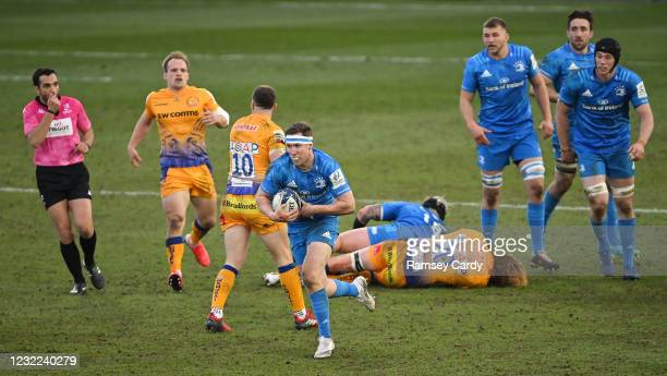 Exeter , United Kingdom - 10 April 2021; Rory O'Loughlin of Leinster on his way to scoring a try, which was subsequently disallowed, during the...