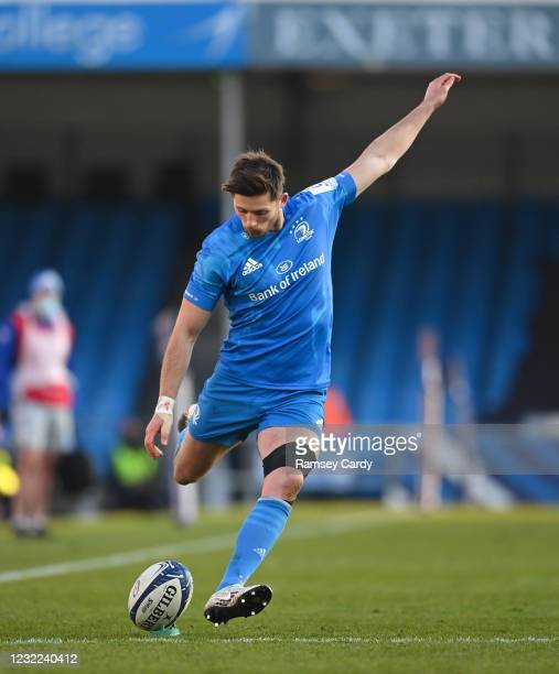 Exeter , United Kingdom - 10 April 2021; Ross Byrne of Leinster kicks a conversion during the Heineken Champions Cup Pool Quarter-Final match between...