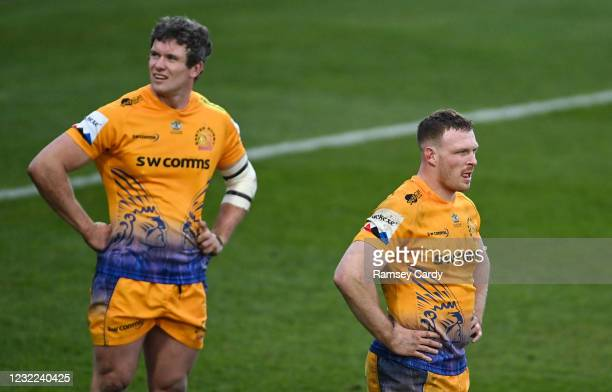 Exeter , United Kingdom - 10 April 2021; Sam Simmonds, right, and Ian Whitten of Exeter Chiefs dejected during the Heineken Champions Cup Pool...