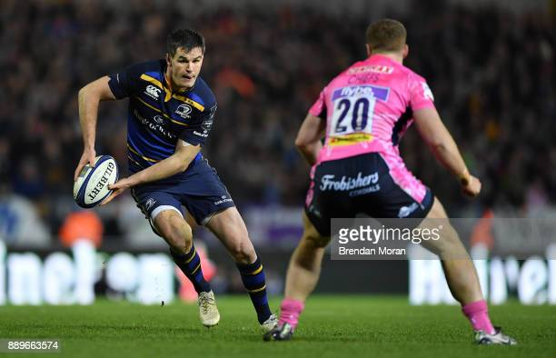 Exeter United Kingdom 10 December 2017 Jonathan Sexton of Leinster in action against Sam Simmonds of Exeter Chiefs during the European Rugby...