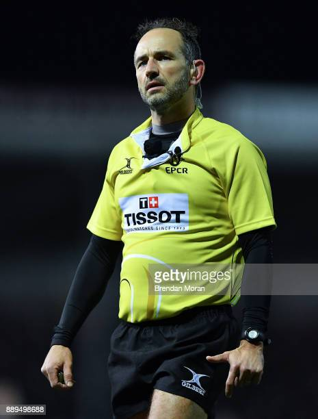 Exeter United Kingdom 10 December 2017 Referee Romain Poite views the big screen to judge on the try by Luke McGrath of Leinster which was...
