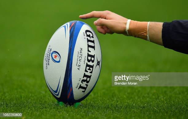 Exeter , United Kingdom - 13 October 2018; A general view of a match ball during the Heineken Champions Cup Round Pool 2 Round 1 match between Exeter...