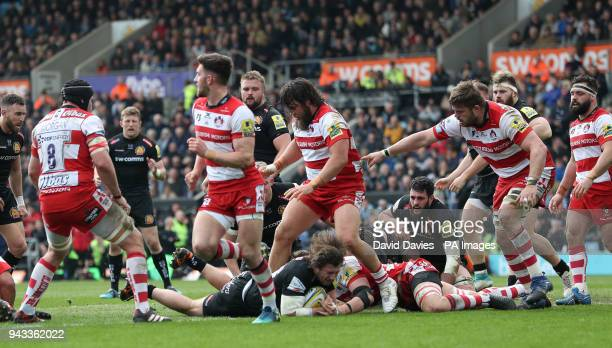 Exeter's Alec Hepburn scores his side's first try during the Aviva Premiership match at Sandy Park Exeter