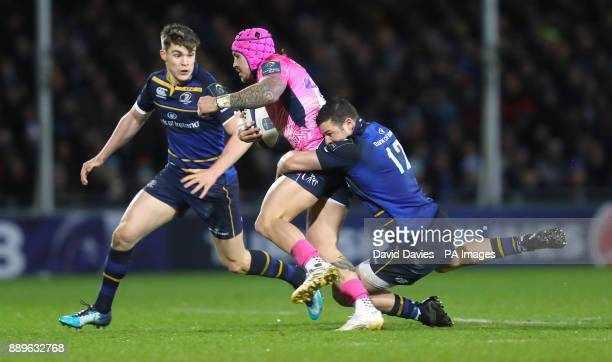Exeter's Jack Nowell is tackled by Leinster's Robbie Henshaw during the European Rugby Champions Cup Pool Three match at Sandy park Exeter