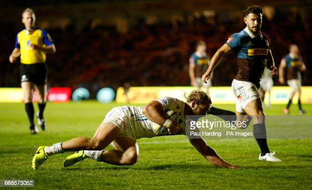 Exeter's Michele Campagnaro scores his side's second try during the Aviva Premiership match at Twickenham Stoop London
