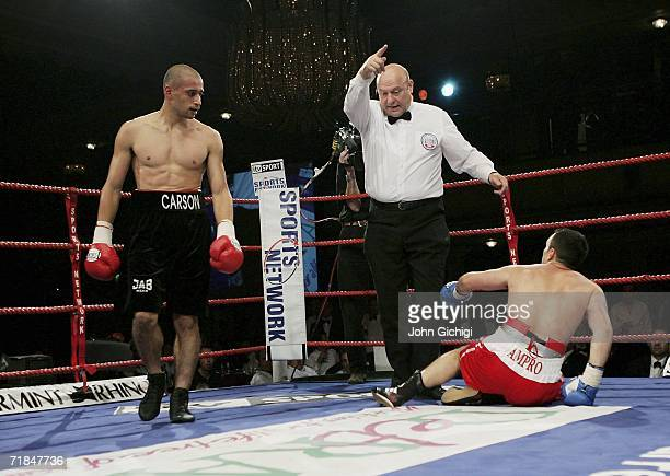 Exfootballer Curtis Woodhouse makes his professional debut by stopping his opponent Dean Marcantonio during the Lightmiddleweight fight on September...