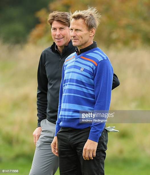 Exfootballers Darren Anderton and Teddy Sheringham are pictured during the Pro Am prior to the start of the British Masters at The Grove on October...