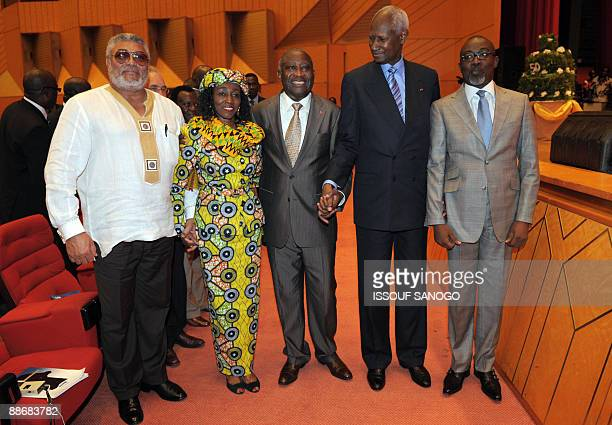 ExGhanaian president John Jerry Rawlings and his wife President Laurent Gbagbo of the Ivory Coast and the exsenegalese President and SecretaryGeneral...