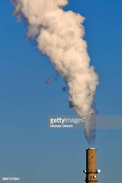 Exhaust emissions, plume of smoke, chimney of a power plant, Kiel, Schleswig-Holstein, Germany