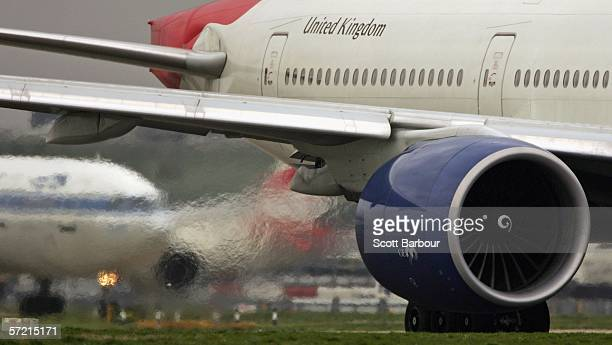 Exhaust emits from the engine of a passenger jet as it prepares for take off at Heathrow Airport on March 30 2006 in London England Air travel is the...