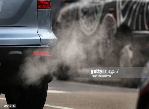 Exhaust fumes from a car in Putney High Street on January 10 2013 in Putney England Local media are reporting local environmental campaigners claims...