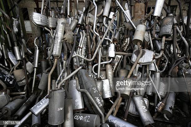 GERMANY BONN Exhaust pipes on a German scrapyard