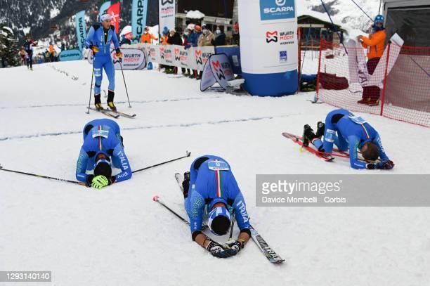 Exhausted after the arrival the three Italians Robert Antonioli, Federico Nicolini, Davide Magnini, senior men category vertical race ISMF Ski...