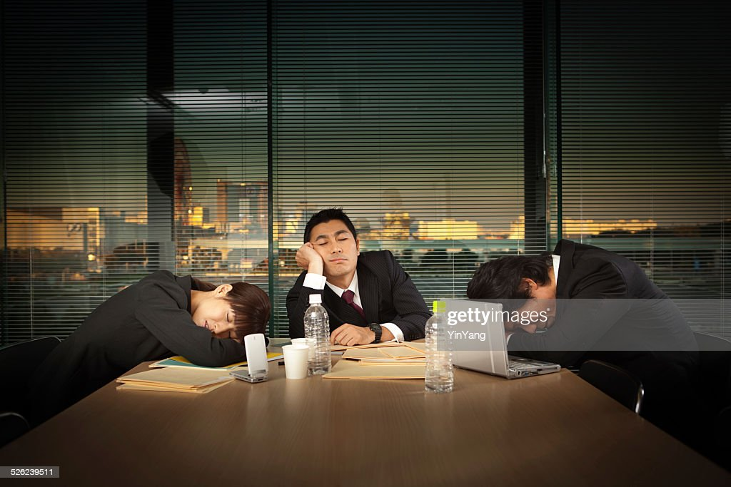 Exhausted Japanese Business Office Workers in Meeting Horizontal : Stock Photo