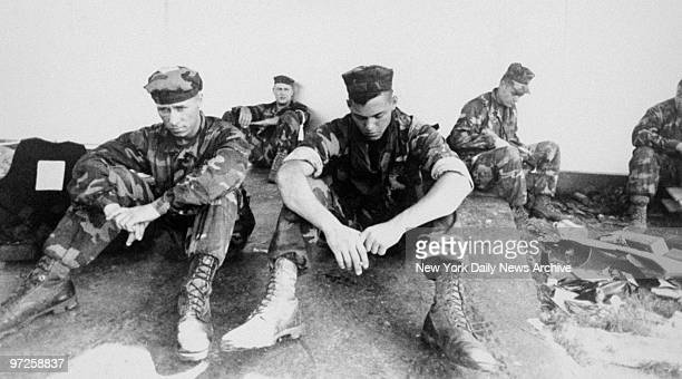 Exhausted Marines rest after taking town of Vecca Monte west of Panama City during Operation Just Cause the name given to the US invasion of Panama...