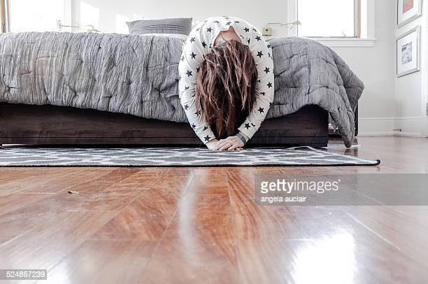 Exhausted woman trying to sleep