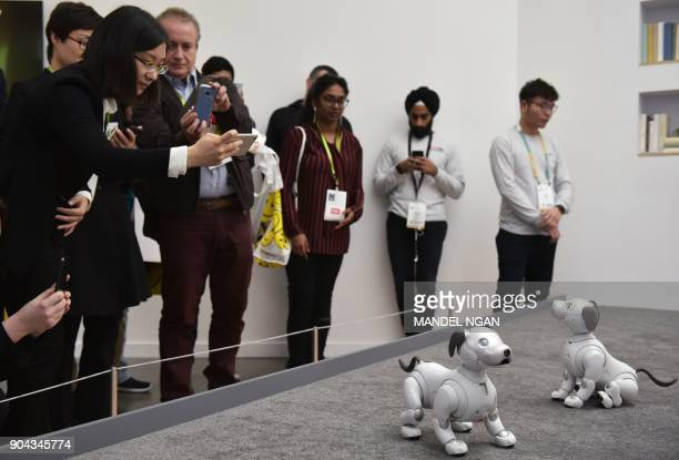 Exhbition goers look at Sony Aibo robotic dogs during at the Las Vegas Convention Center during CES 2018 in Las Vegas on January 12 2018 / AFP PHOTO...