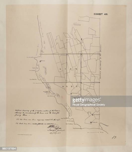 Exhibit 48 Outline tracing of the Southern Eastern portion of the province shewing the boundary of the Runs and the lines for fixing them From an...