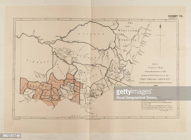 Exhibit 70 Outline map shewing the positions of the proposed new counties in the Port Phillip District which will be ready for proclamation by the...