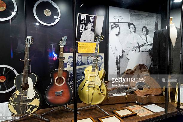 Exhibit at Sun Studio birthplace of rock and roll stars Elvis Presley Johnny Cash Jerry Lee Lewis Carl Perkins Memphis USA