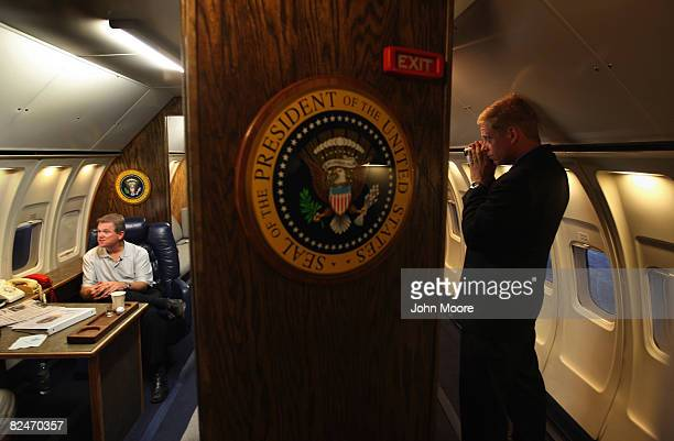Exhibit curator James Warlick sits in an interior replica of Air Force One outside Invesco Field site of the finale of the 2008 Democratic National...