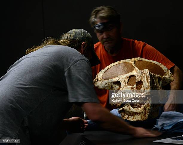 Exhibit designer Chad Swiercinsky left and Jeff Yearick install a model of a Protoceratops which had similarities to the mythic griffin This could...