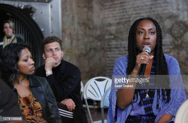 Exhibit guests participate in a artists panel conversation at PRIZM Art Fair as part of the 2018 Art Basel Miami Beach art fair on December 7 2018 in...