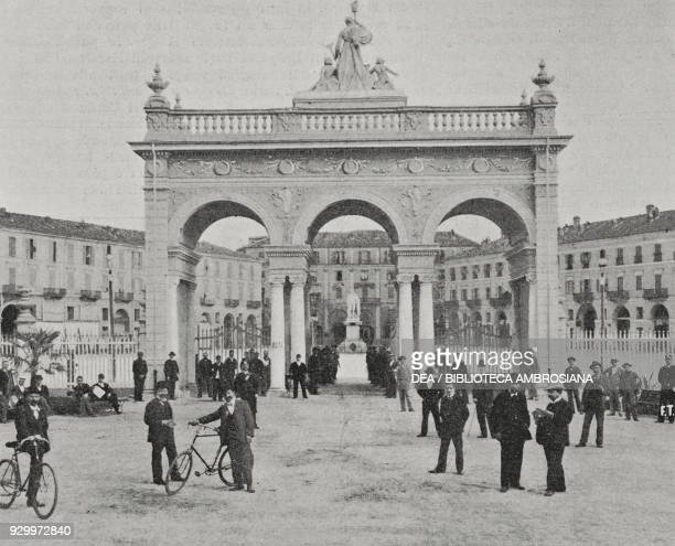 Exhibition arch in Piazza Alfieri Asti Piedmont Italy photograph by Treves from L'Illustrazione Italiana Year XXV No 31 July 31 1898