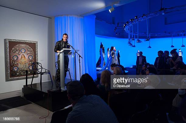 Exhibition curator ThierryMaxime Loriot speaks during the press preview for The Fashion World of Jean Paul Gaultier From the Sidewalk to the Catwalk...
