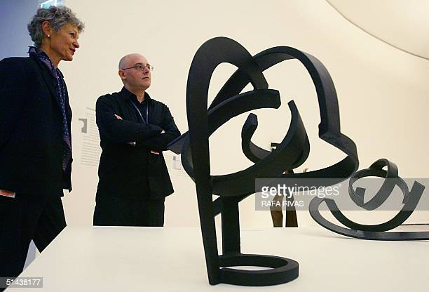 Exhibition curators art critic Margit Rowell and Spanish artist Txomin Badiola appear at their Guggenheim Bilbao Museum exhibition 'Oteiza Myth and...
