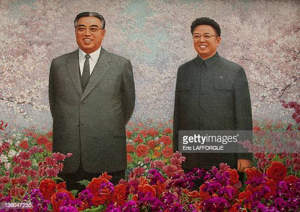 Exhibition for the Presidents' birthdays, the two leaders, Kim Il Sung and Kim Jong Il on a giant fresco on April 25, 2010 in Pyongyang, North Korea....