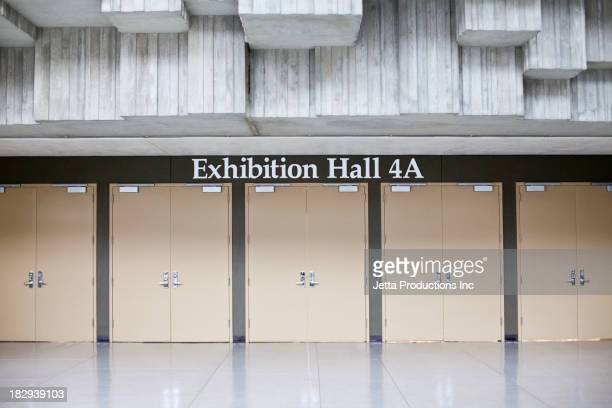 Exhibition hall sign and double doors