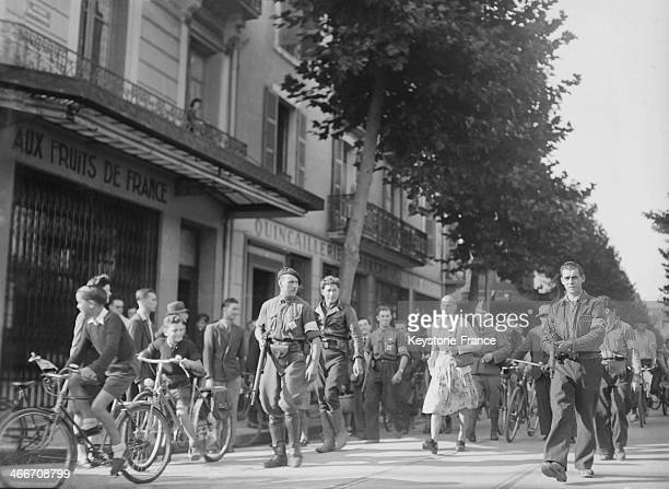 Exhibition of a shorn woman during the liberation of Vichy in 1944 in Vichy France