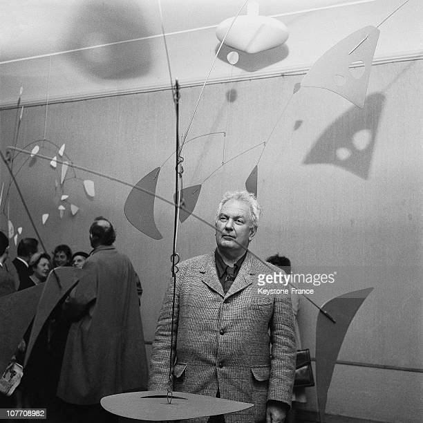 Exhibition Of Alexander Calder 'S 'Mobile' At Maeght Art Artist In Front Of One Of His 'Mobile' On November 13Th 1954