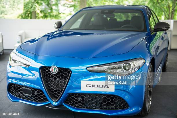 Exhibition of Alfa Romeo Giulia during in Turin Motor Show 2018
