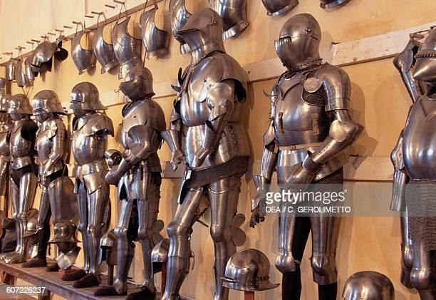 Exhibition of ancient armours Trapp armoury in Castel Coira Sluderno Vinschgau valley TrentinoAlto Adige Italy