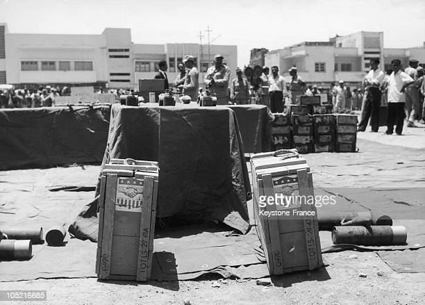 Exhibition Of Arms Provided By The Usa To British Troops Settled In The Protectorate Of Aden Who Opposed The Separatist Yemeni Demands A Square Of...