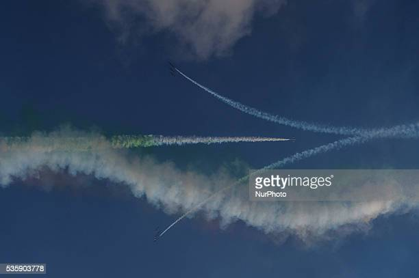 Exhibition of Italian Aerobatic Team quotFrecce Tricoloriquot during the Airshow 2016 event in Terracina Italy on May 29 2016 Frecce Tricolori...
