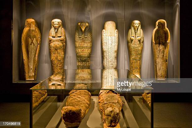 Exhibition of mummies at Ny Carlsberg Glptotek art museum Copenhagen Denmark