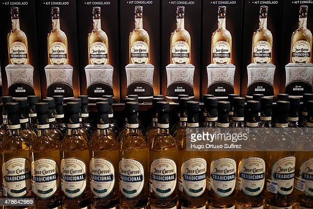 CONTENT] TEQUILA JALISCO MEXICO APRIL 06 Exhibition of several bottles of tequila being sold in the souvenir shop of Casa Jose Cuervo in Tequila...