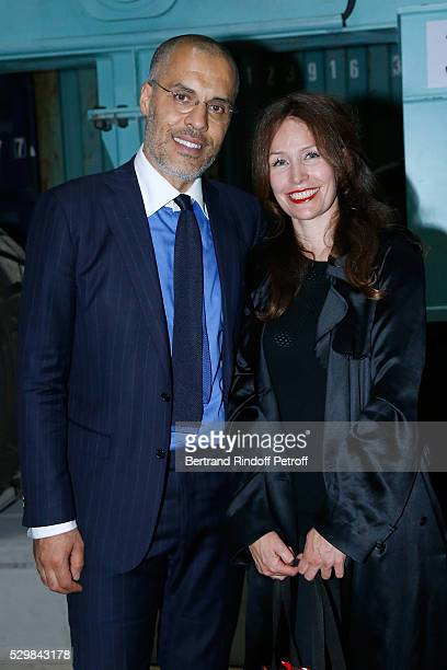 Exhibition Partner Kamel Mennour and his wife Annika attend the Huang Yong Ping Monumenta 2016 Exhibition opening at Le Grand Palais on May 9 2016 in...